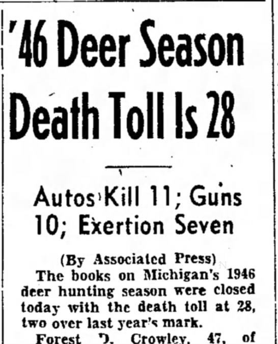 1946 Deer Season Claims 28 Lives in Michigan