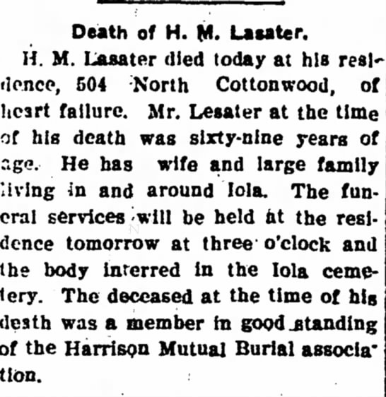 Hardy M Lasater - Obituary - The Iola Register 5 Oct 1904 Page 2