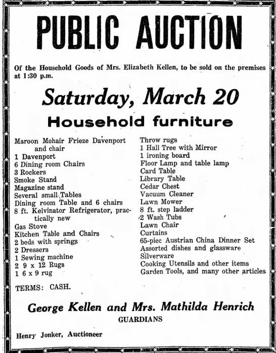 Eliz auction 18 March 1954