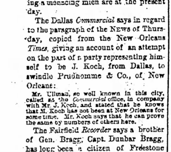 1878 feb 19 koch,  j not been in New Orleans for some time
