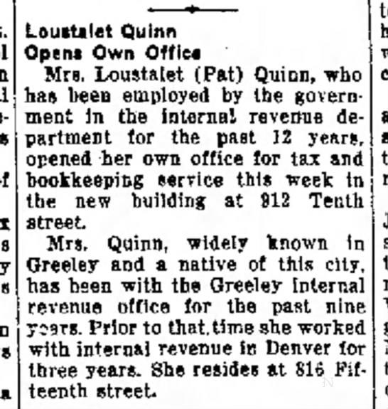 Loustalet Quinn Opens Own Office -  Greeley Daily Tribune, 13 Nov 1954, p2