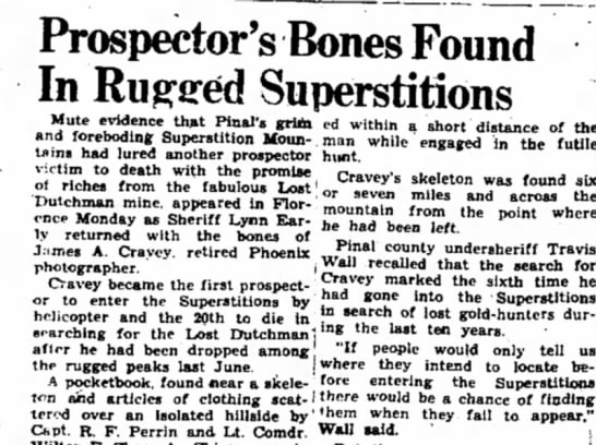 Prospector's Bones Found in Rugged Superstitions