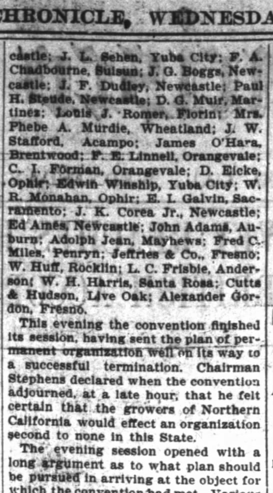 Lovdal Bros., San Fran. Chronicle, 24 May 1899, Pg 2, Col 1, 2, 3, 4 Fruit Growers