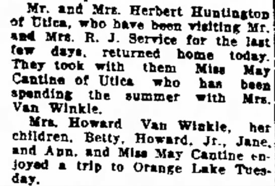 Mr Mrs Herbert Huntington, Mrs RJ Service, May Cantine, Van Winkles