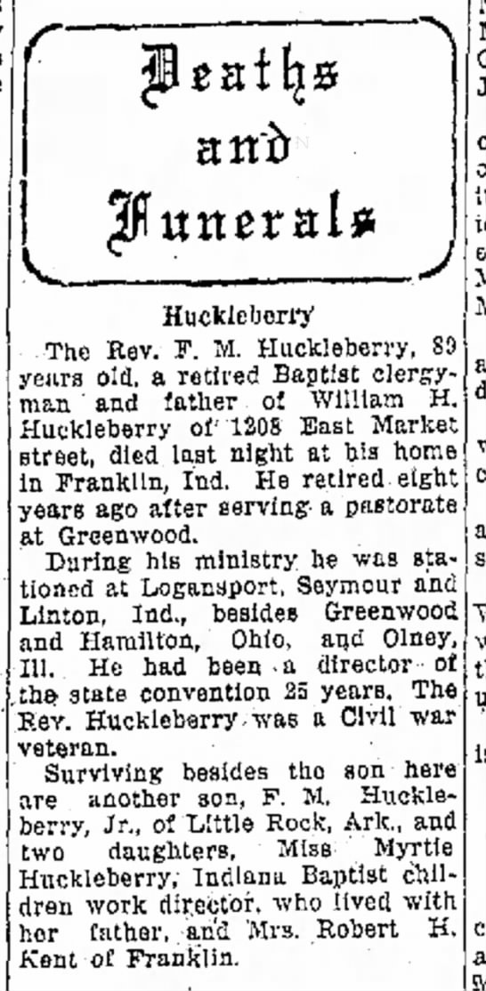 Obituary Rev. F M Huckleberry died 25 Oct 1935