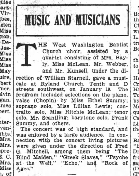 The Washington Post, 28 January 1912, Sunday, Page 12: Music and Musicians: The West Washington Baptist Church choir . . . . The program included selections on the piano, valse (Chopin) by Miss Ethel Summy; barytone [sic] solo, Frank Summy, ans others.