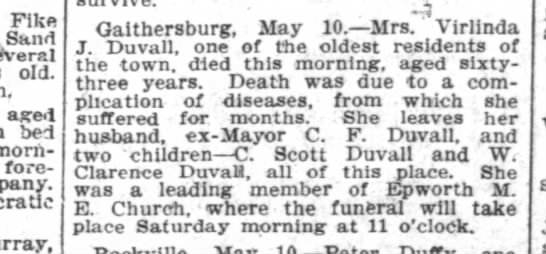 Verlinda J. Duvall Obit, Wash Post, 11 May 1906