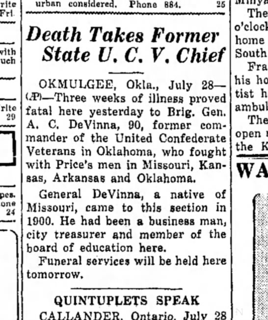 A.C. Devinna death report in Miami Daily news-Record (Miami, OK) 28 July, 1936