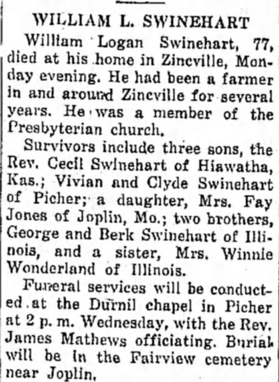 William L. Swinehart, (husband of Dora Ford) died on 18 Sept 1944.