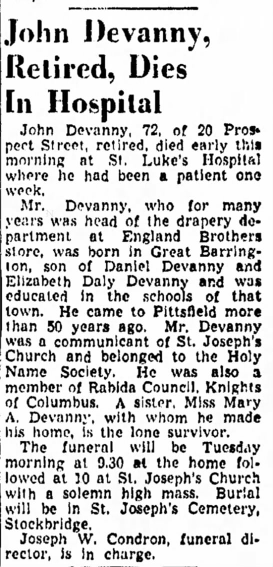 unproven but a shared Great Barrington and Pittsfield connection.4 Jan 1947