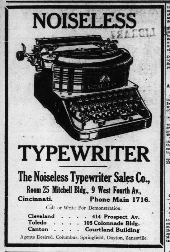 Noiseless Typewriter advertisement 1912