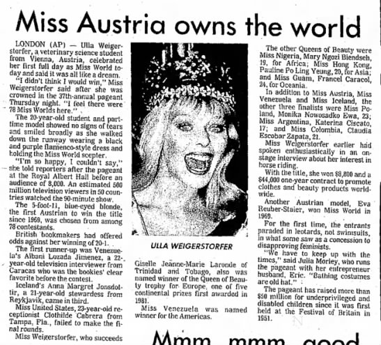 Monika Nowosadko Ewa, who should be a distant cousin of mine. She was Miss Polonia 1987.