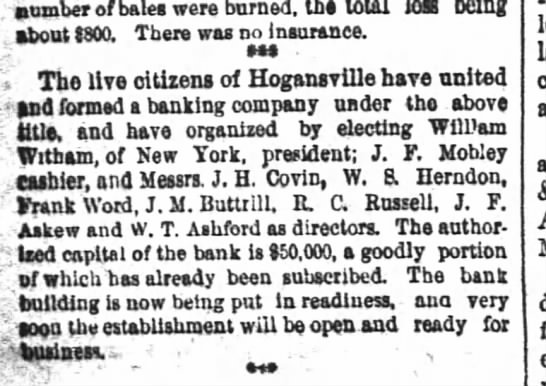 J. M. Buttrill is a director of the newly formed Hogansville bank.