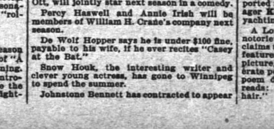 DeWolf Hopper:  Fine payable to wife Inter Ocean 30 May 1897