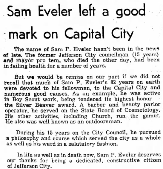 Sam Eveler News artical of death
