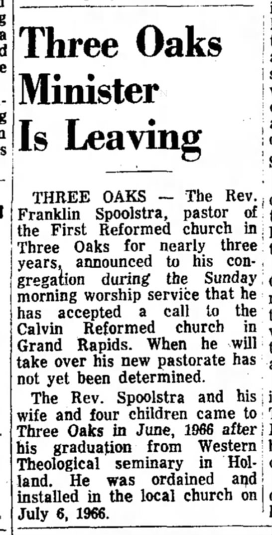Spoolstra, Franklin E 19690305 Article Michigan