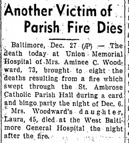 Folllowup from St Ambrose fire of  Dec, 1944 - Hagerstown Herald of Dec 29, 1944