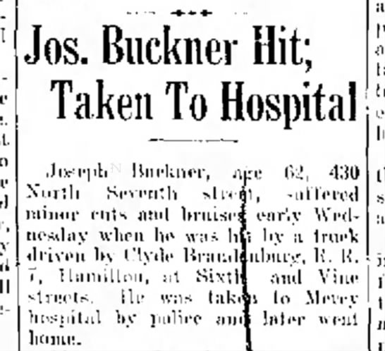 Joseph Buckner hit by car (1937)
