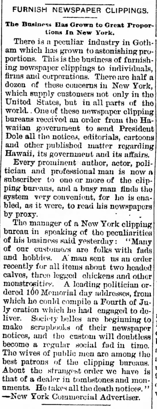 Clipping bureaus and services in 1895.