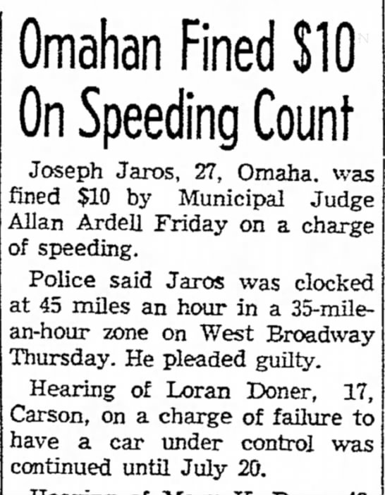 Omahan Fined $10 on Speeding Count - Council Bluffs Nonpareil - 20 Jul 1956, page 20