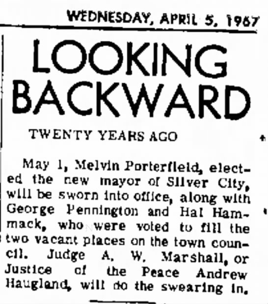 In 1947 George Pennington sworn in to fill one of the vacant spaces on the town council.