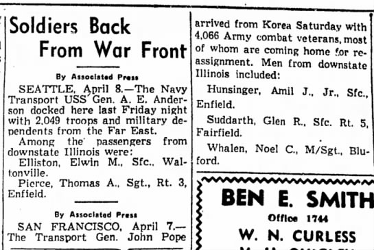 Noel Whalen returns from Korea - 1952