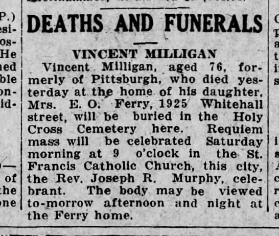 Vincent Milligan Death