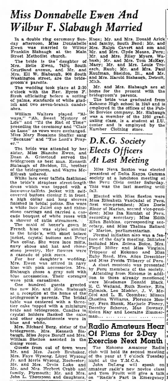 Ewen Slabaugh Wedding Kokomo Tribune 14 May 1951