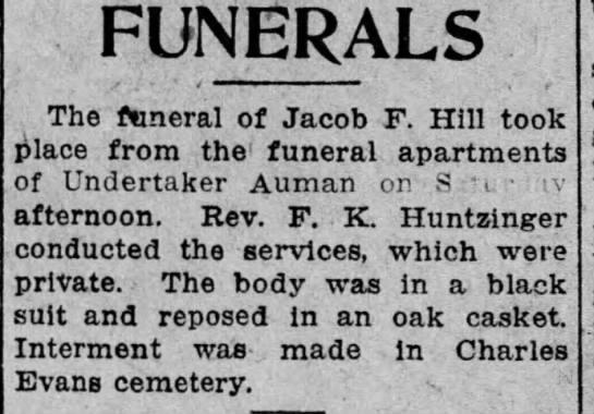 Jacob F Hill funeral