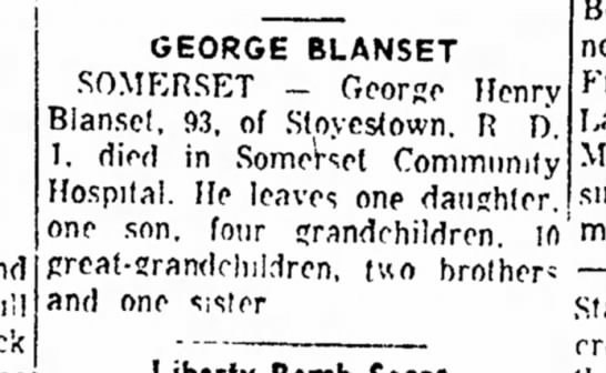 The Daily Courier Obit for George Blanset 93