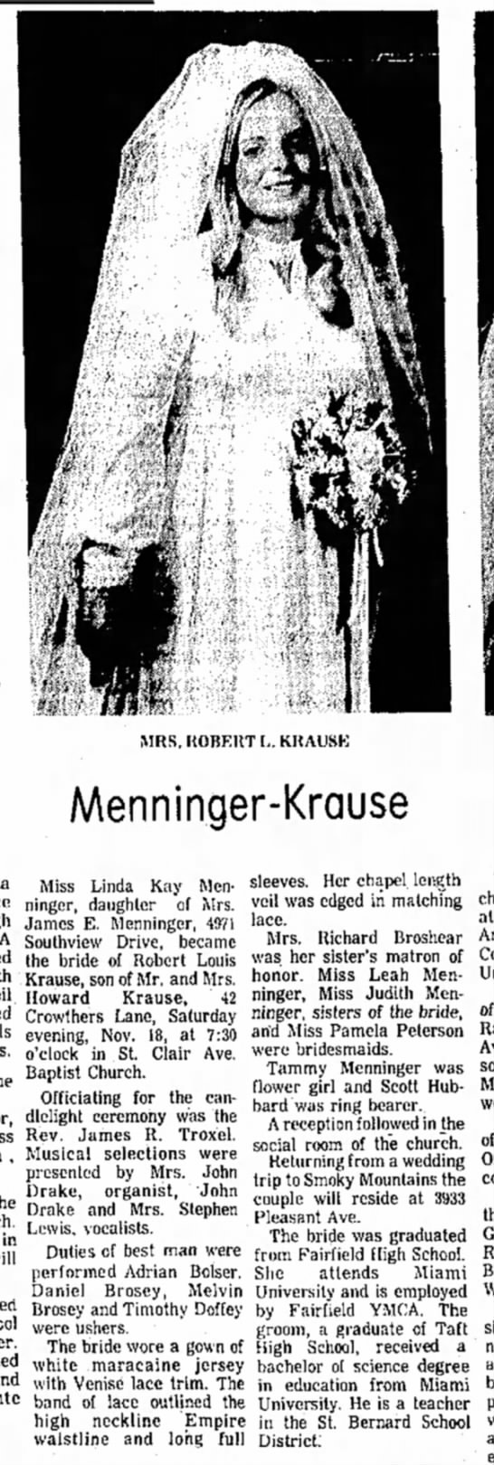Menninger Krause Wedding (1972)