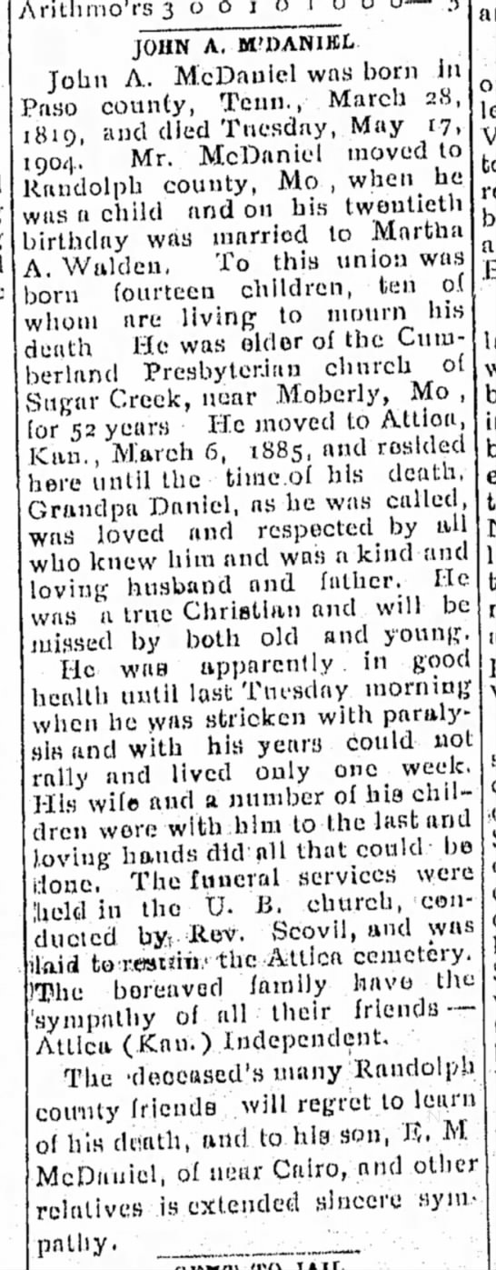 John A. McDaniel - Moberly Evening Democrat, 23 May 1904 p1