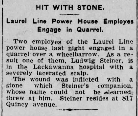 Ludwig Steiner injured in fight, Scranton Republican, 16 Sept 1903