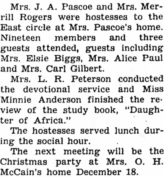 21 Nov 1946 Carroll Daily Times Herald Elsie Biggs and McCain