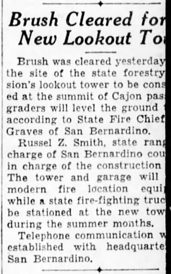 1932-3-30 Brush Cleared for New Lookout Tower