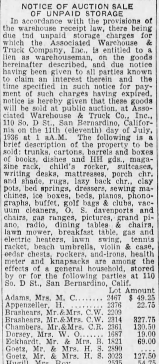 H S Goetz auction sale unpaid storage San Berdo Sun 07-04-1936