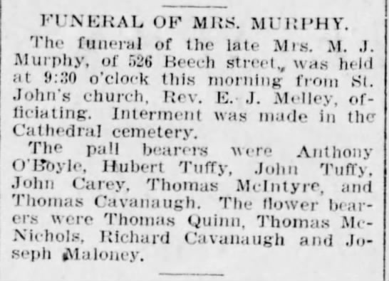 Mrs M. J. Murphy Funeral (Tuffy mention)