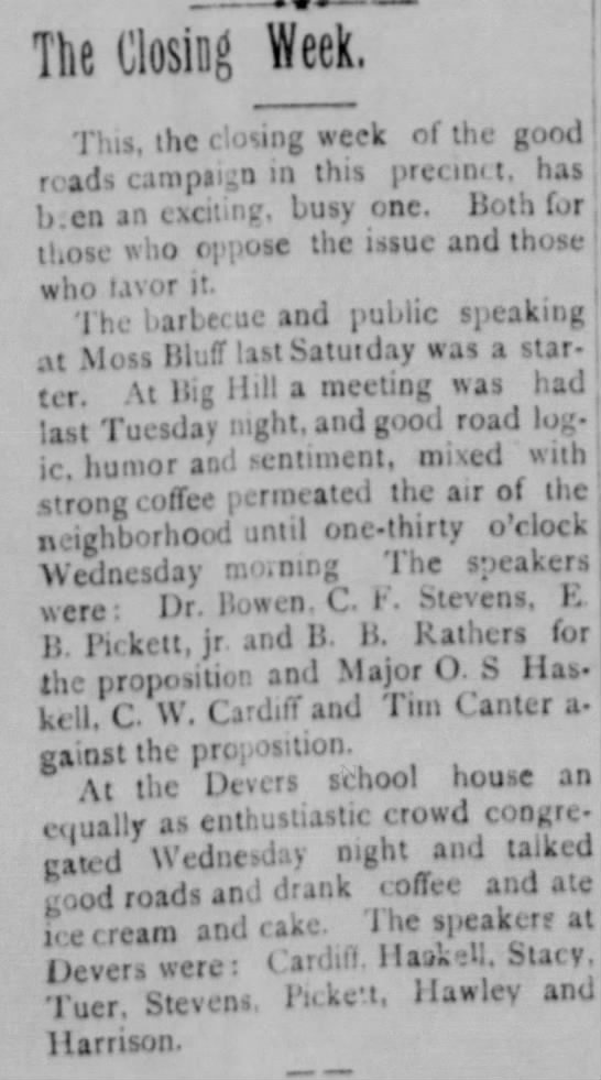 Good Roads Campaign Meetings in Liberty County - 1911