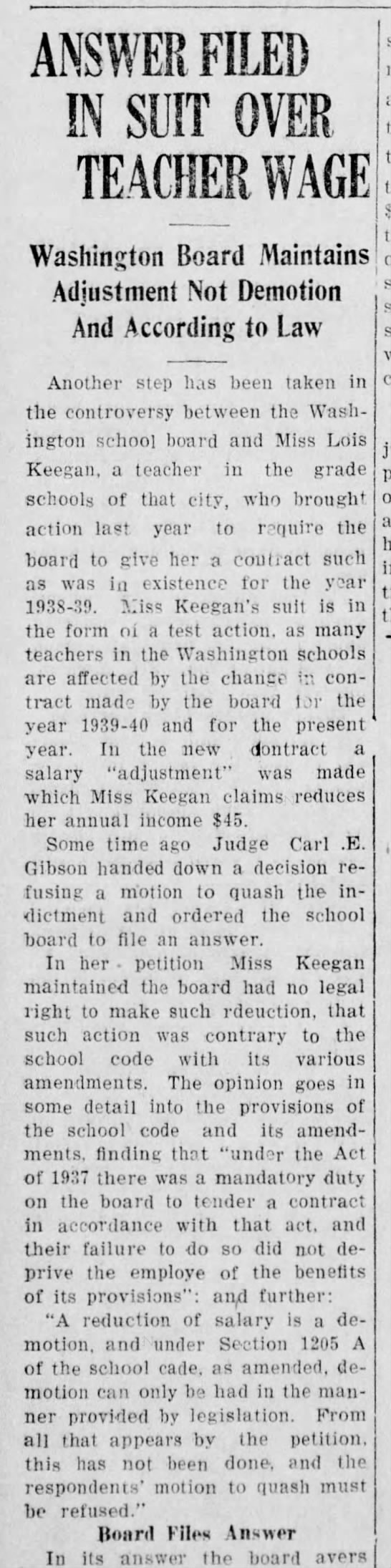 lois Keegan, The Daily Notes Canonsburg, March 12,1941