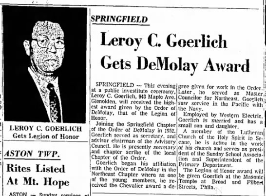 Leroy C. Goerlich Gets DeMolay Award