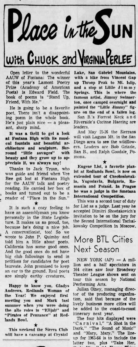 Jack Truan mentioned in article May 1963