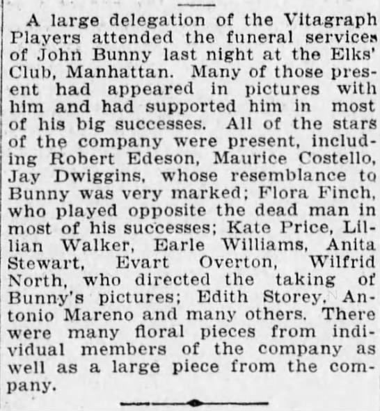 Vitagraph Players attend John Bunny Funeral April 29, 1915