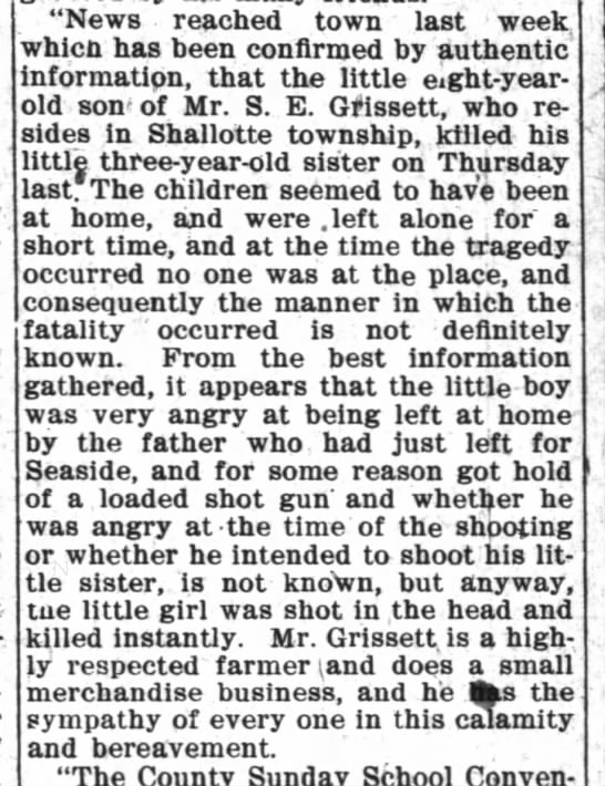 Grissett girl murdered by brother Wilmington Morning Star 2 Jul 1910