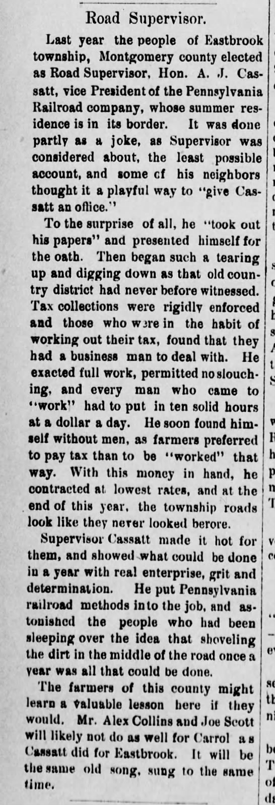 Alex Collins, The Daily Republican 27 Feb 1884