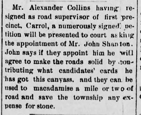 Alexander Collins, resigned road supervisor of Carroll, The Daily Republican, 2 June 1884