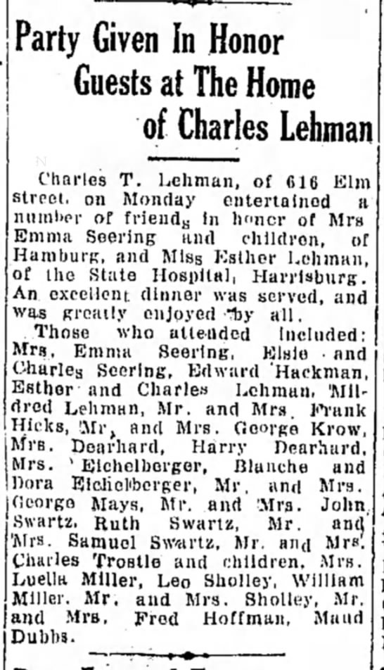 Eichelberger Emma Blanche and Dora attend party at home of Charles Lehman LDN 31 Aug 1926