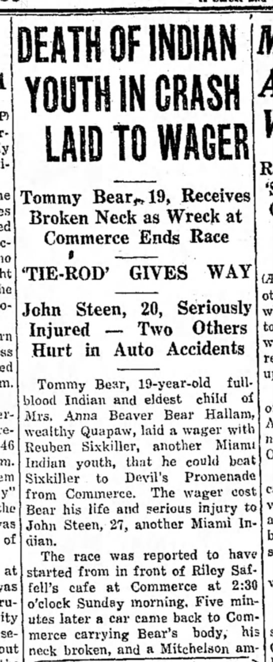 Part 1- Accident near Saffell Cafe, Commerce,OK 1933