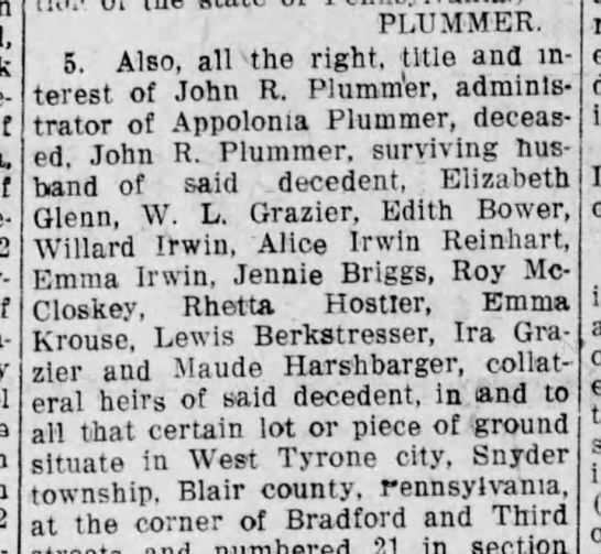 Altoona Jan 10,1913 land owned by Appolonia (Grazier)Plummer