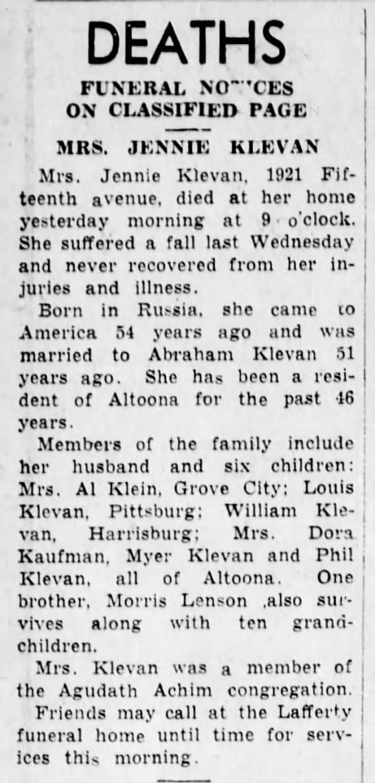 Jennie Klevan funeral notice 22 December 1941
