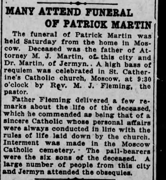 22 Sep 1913 funeral story for Patrick Martin of Moscow PA,